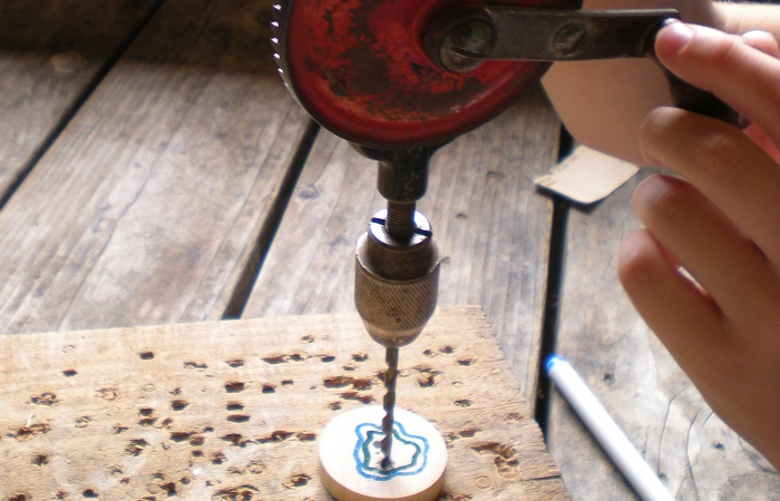 Pioneer spinners, Hand drill at Pioneer Farm, Eatonville, WA